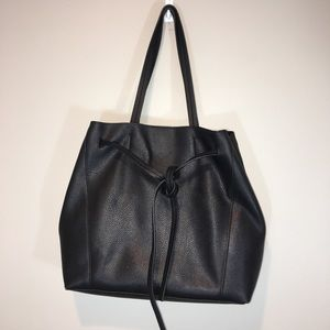 Ann Taylor Factory Black Leather Tote